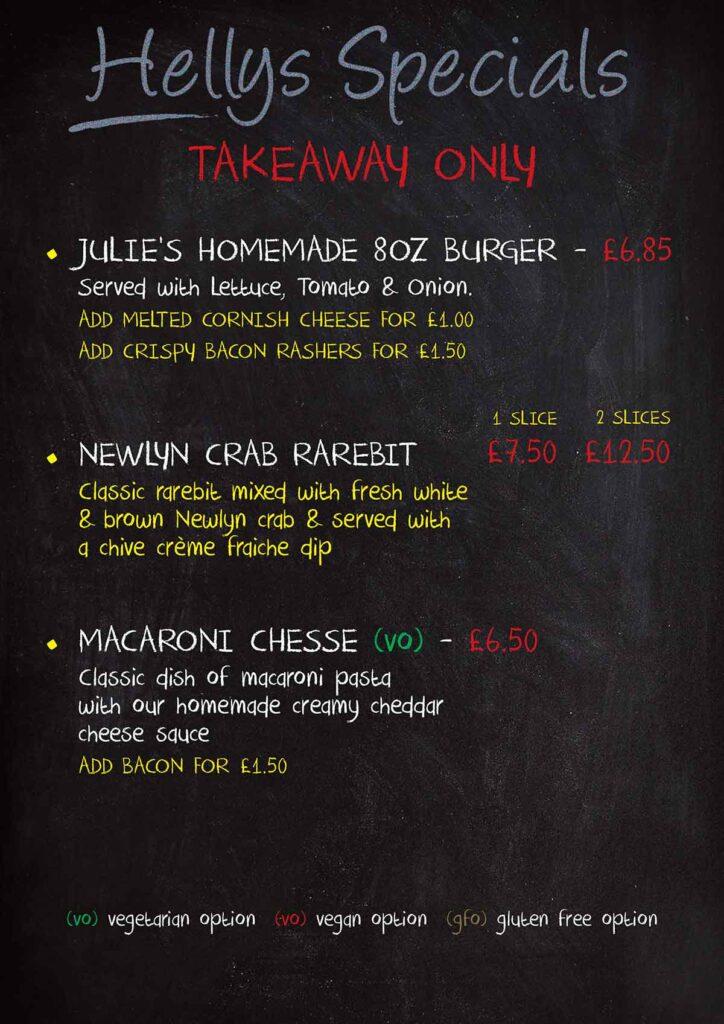 Hellys Deli bar cafe menu on blackboard