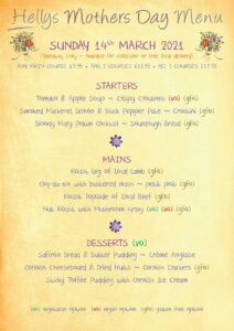 Hellys Mother's Day menu 2021