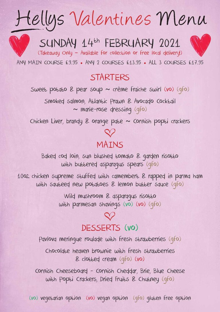 Hellys Valentines menu
