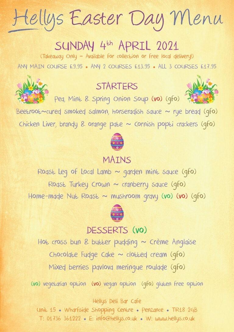 Helly Easter Menu 2021