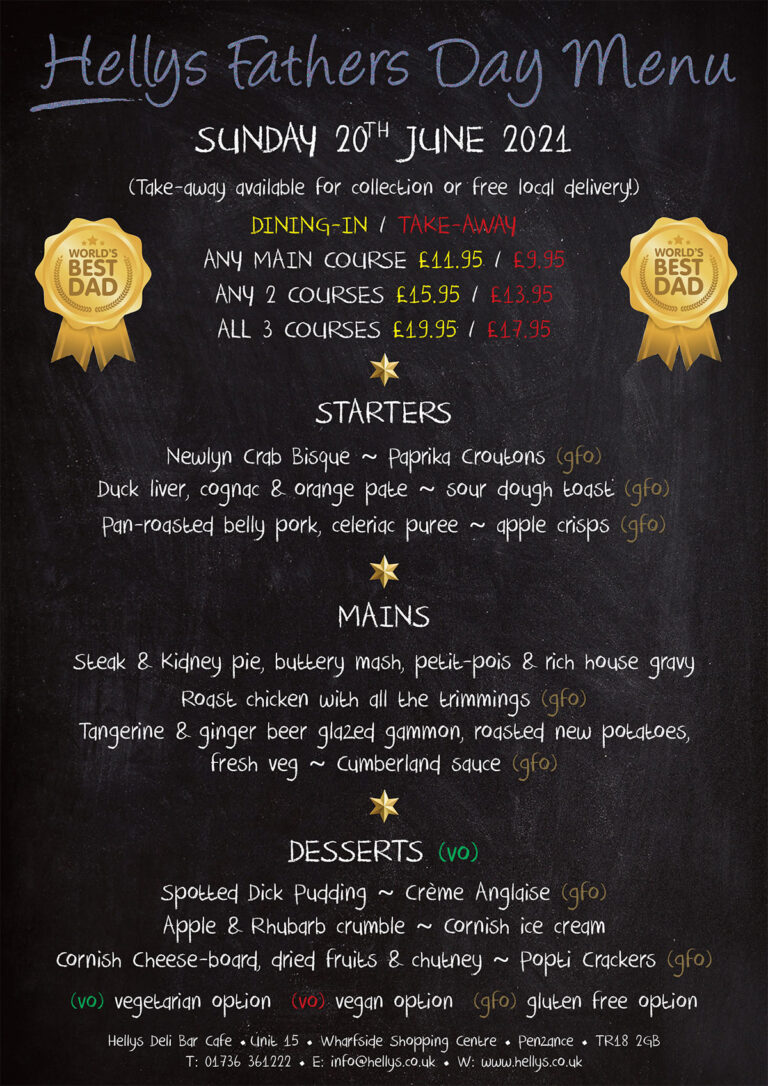 Hellys Fathers Day menu 2021