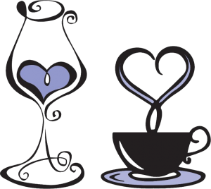Illustration of a wine glass and a tea cup